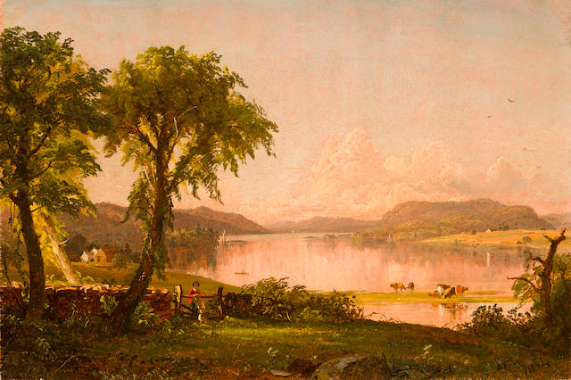 Jasper Francis Cropsey (American, 1823-1900) Summer Afternoon at Lake George 12 x 18in