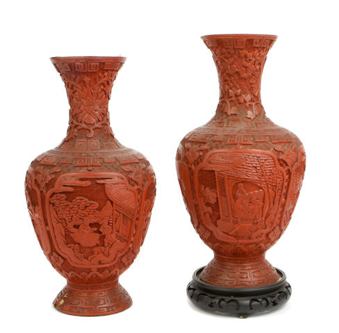 A pair of cinnabar lacquer vases