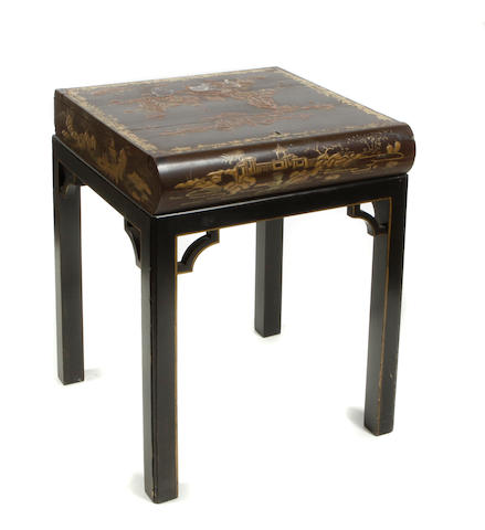 A Chinese export lacquer traveling desk box