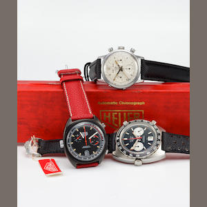 Heuer. An anodized steel automatic chronograph with dateMonza, Ref:150501, case no. 359186