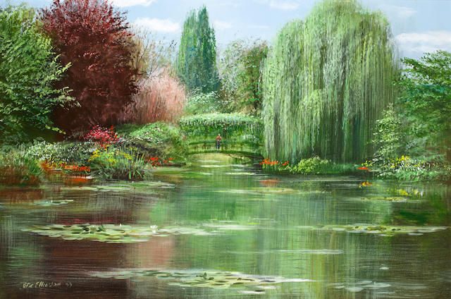 Peter Ellenshaw (American, 1913-2007) Bridge view, Giverny, 1999 24 x 36in