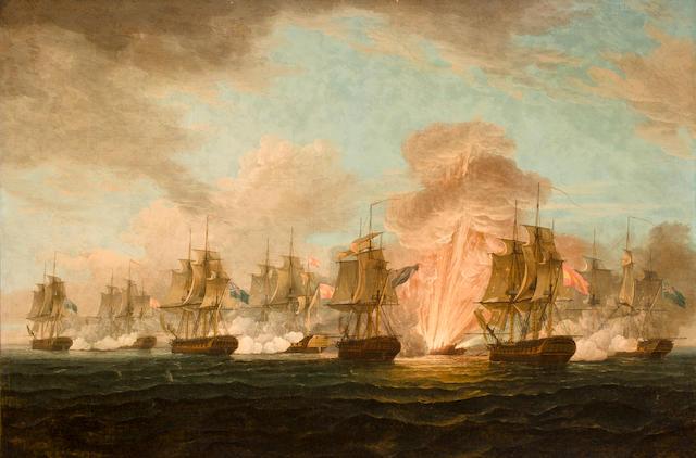 Thomas Whitcombe (British, 1760-1824) The Battle of Cape Santa Maria 36-1/2 x 55 in. (92.7 x 139.7 cm.)