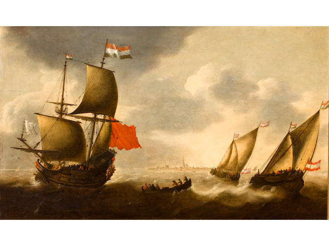 Jacob Adriaensz. Bellevois (Rotterdam 1621-1675) Shipping outside Flushing harbour 28-1/2 x 48 in. (71.7 x 121.9 cm.)