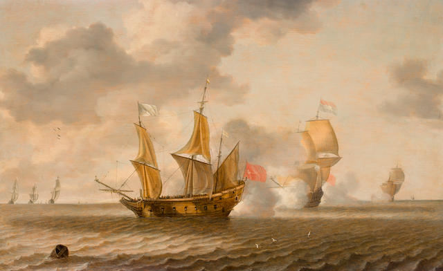 Bonaventura Peeters the Elder (Antwerp 1614-1652 Hoboken) Sea Battle 21-1/2 x 34 in. (54.6 x 86.3 cm.)