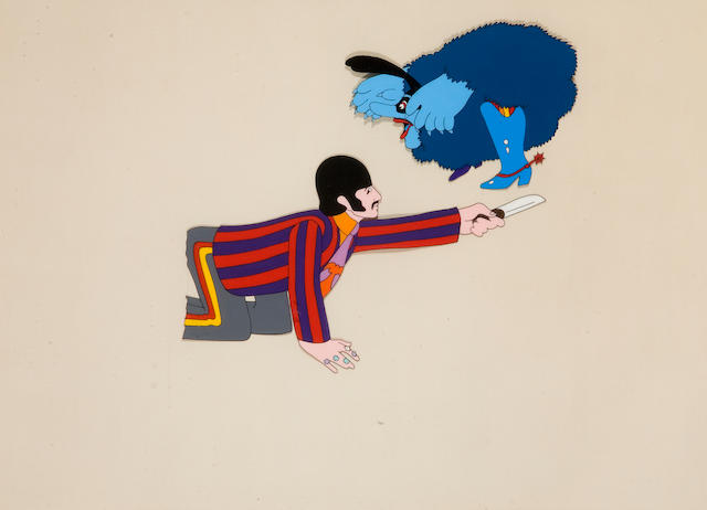 A celluloid and two animation drawings from the Beatles' Yellow Submarine, 1968