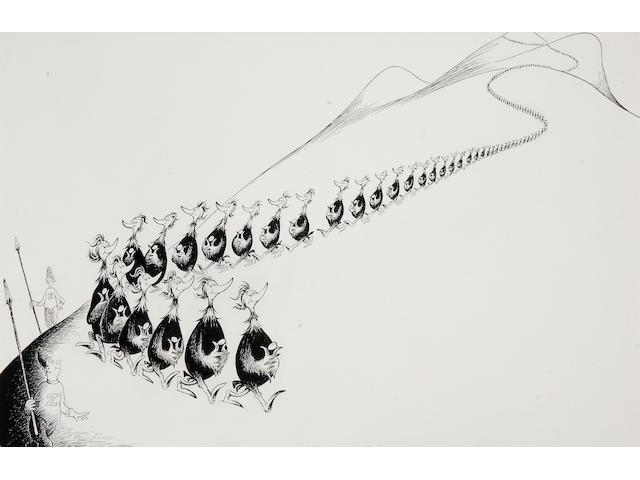 Dr. Seuss (Theodor Geisel), Meaningless Procession for Rosemary and Meredith, pen and ink on illustration board
