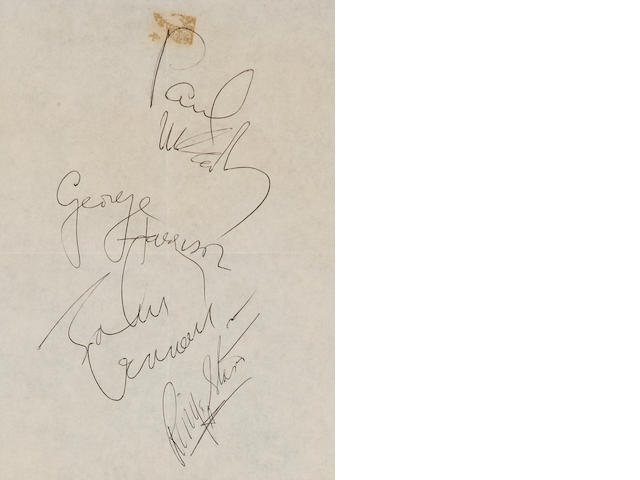 The Beatles. Signatures of all 4 on Air France stationery. Collected by owner.
