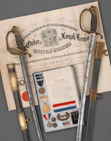 A historic Civil War grouping of swords and medals belonging to Captain John Heatley Jeffrey