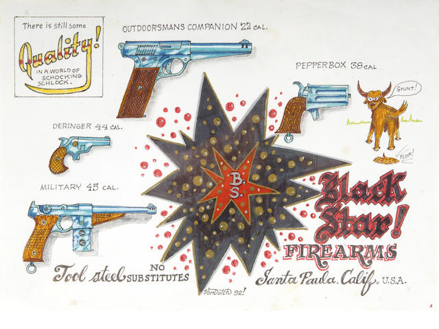 Von Dutch - 'Black Star Firearms' original artwork, 1992,