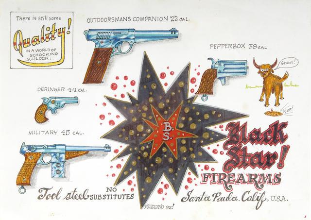 Von Dutch - 'Black Star Firearms' original artwork, 1992,