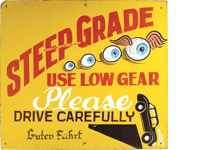 "Von Dutch - ""Steep Grade"" Hand-painted Sign,"