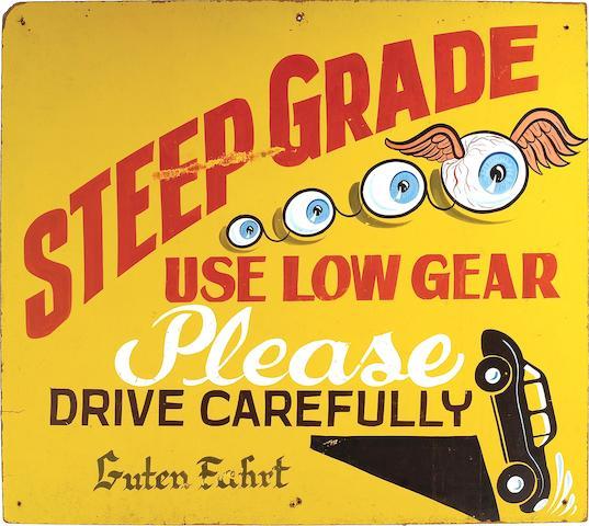"""Von Dutch - """"Steep Grade"""" Hand-painted Sign,"""
