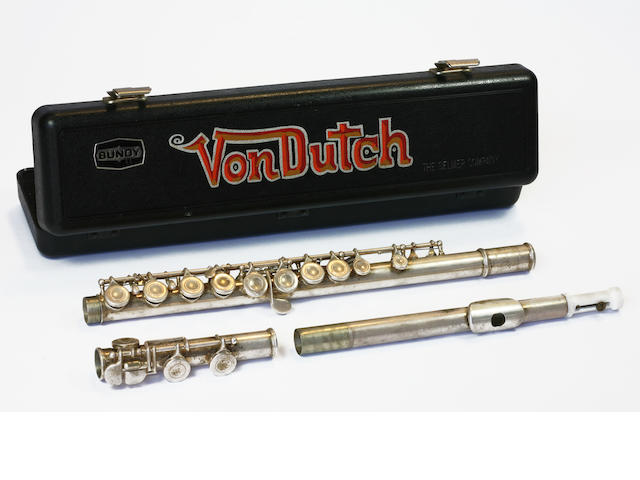 Von Dutch personal flute and hand painted case, 1985,