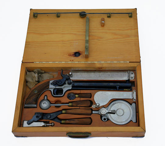 A Von Dutch Custom .45 Caliber percussion pistol with case.