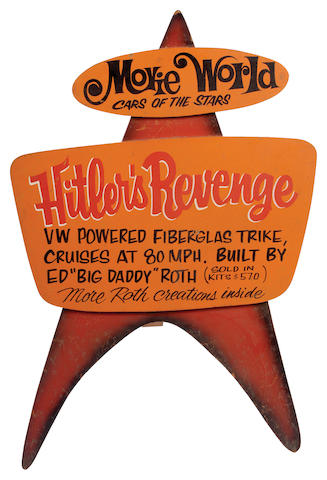"""Ed """"Big Daddy"""" Roth handcrafted wood sign """"Hitlers Revenge"""","""
