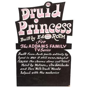 "Ed ""Big Daddy"" Roth handcrafted wood sign ""The Druid Princess"","