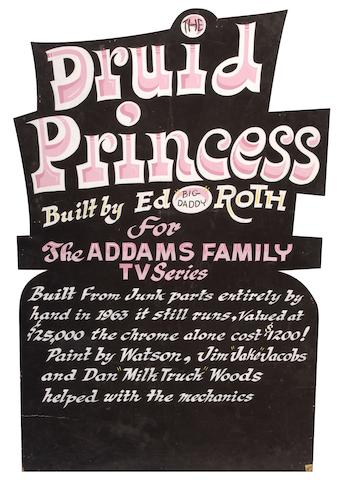 """Ed """"Big Daddy"""" Roth handcrafted wood sign """"The Druid Princess"""","""