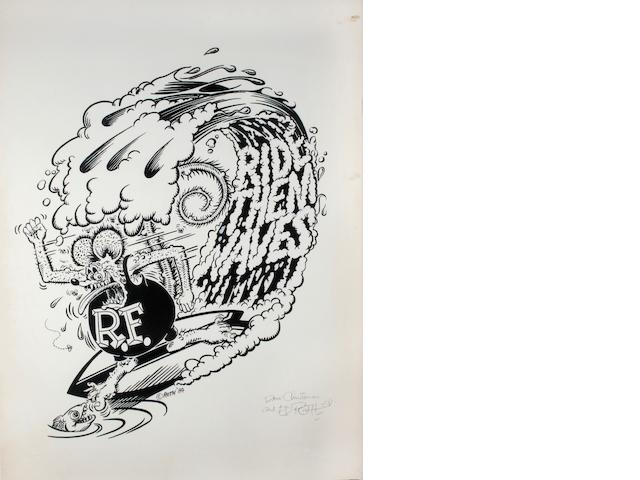 "Ed ""Big Daddy"" Roth original artwork - ""Ride Them Waves"","