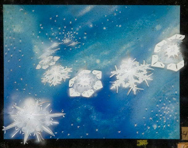 Painting + cel of fairies and snowflakes. From Fantasia?