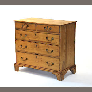 A George III style pine chest 19th century an later