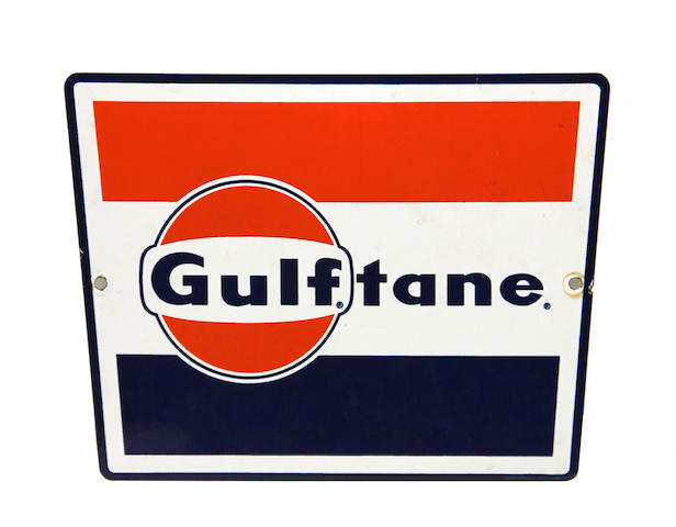 A rare Gulftane pump plate, circa 1950s,