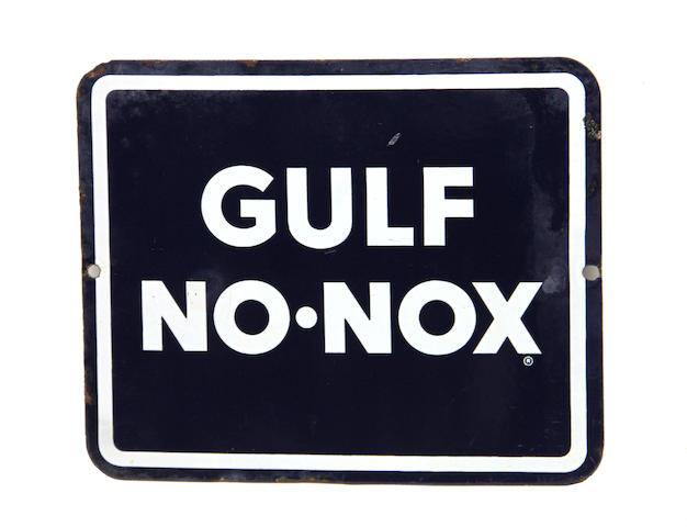 "A rare Gulf ""No Nox"" pump plate,"