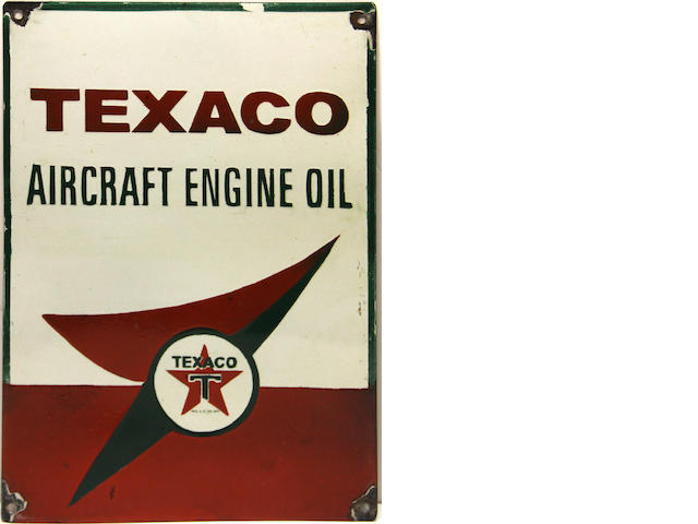 A Texaco Aircraft Engine Oil advertising sign,