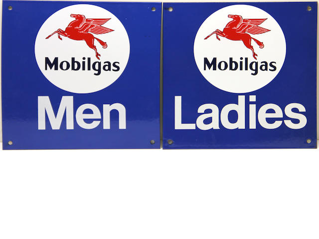 A MobilGas Mens/Ladies room door signs, circa 1970s,