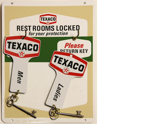 An rare, original Texaco restroom door key sign, circa 1960s,