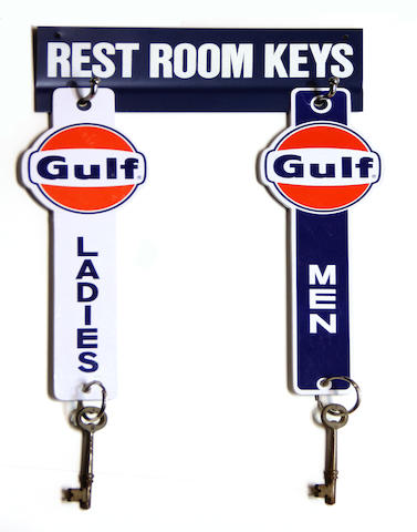 A Gulf restroom key set with hanger, circa 1960s,