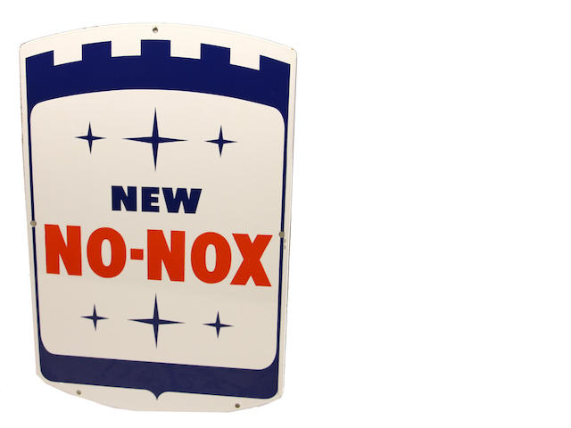 "A new old stock ""New No-Nox' gas pump plate,"