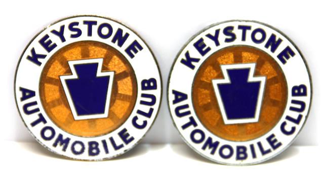 A pair of Keystone Automobile Club badge,