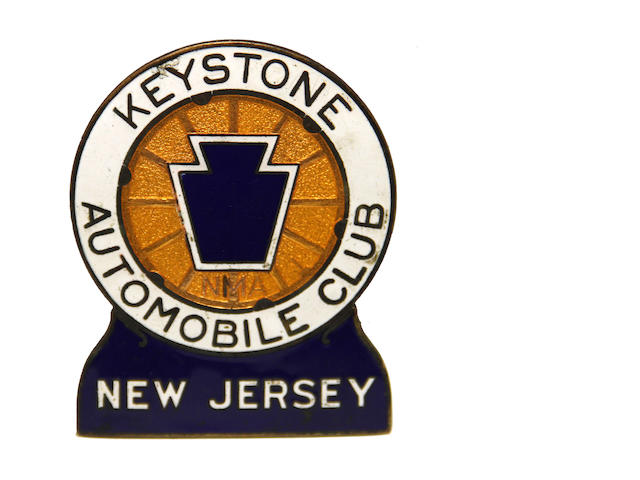 A Keystone Automobile Club of New Jersey badge,