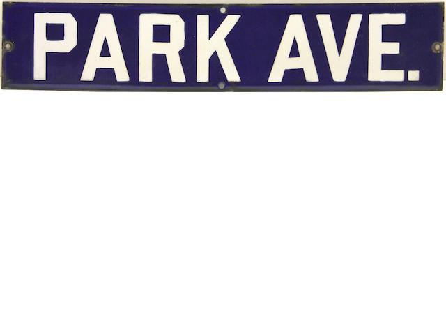 An original Park Avenue porcelain enamel street sign,