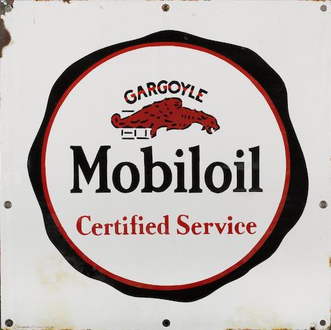 A Mobiloil Gargoil Certified Service sign, 1940s,