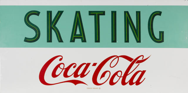A rare Coca-Cola 'Skating' advertising sign, circa 1950s,