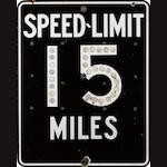 A 15 MPH Speed Limit sign with reflecting numbers sign, circa 1950,