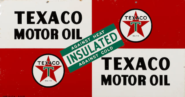 A fine Texaco Motor Oil sign, 1952,