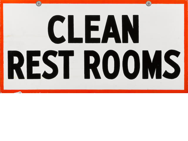 "A Gulf Station ""Clean Rest Rooms"" sign,"