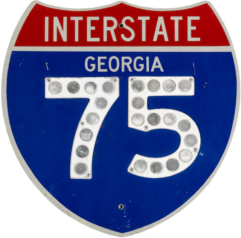 A 'reflecting' Georgia interstate 75 sign,