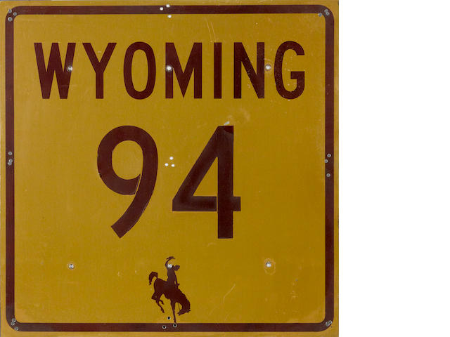 A Wyoming Interstate 94 road sign,