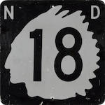 A North Dakota State Highway 18 road sign,