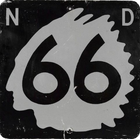 A North Dakota State Highway 66 road sign,