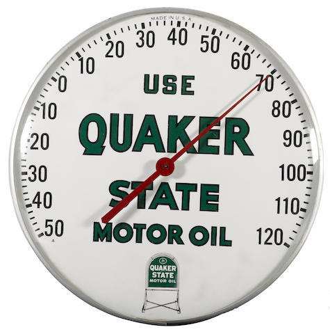 A Quakerstate Motoroil thermometer, circa 1960s,