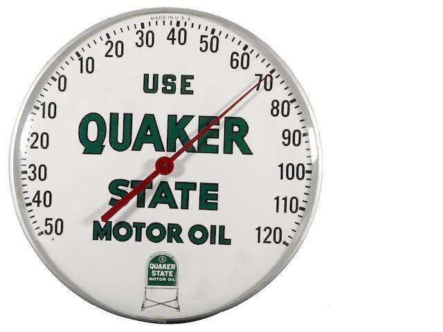A Quakerstate Motoroil thermometer, circa 1960s,