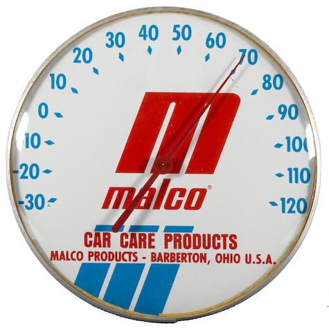 A Malco Car Care Products Thermometer, circa 1970s,