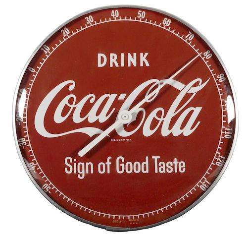 A Coca-Cola Thermometer, circa 1950s,