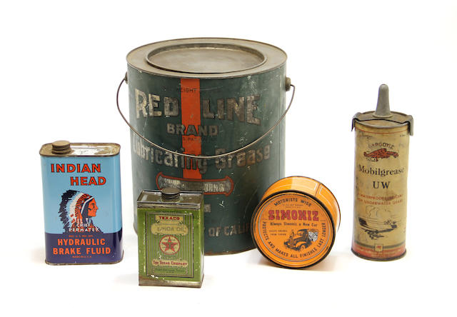 A collection of various oil company manufacturer's cans,