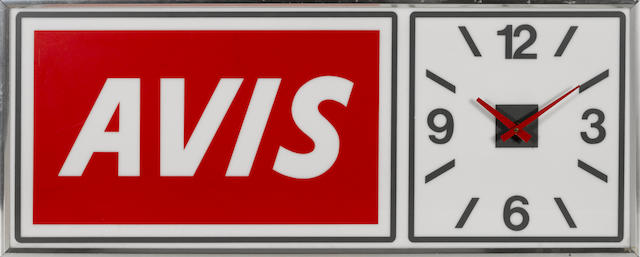 An Avis rental car lighted clock,