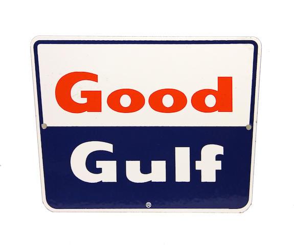 A Good Gulf pump plate, circa 1960's,